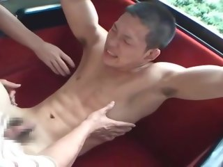 student Japanese pupil on chum around with annoy bus japanese